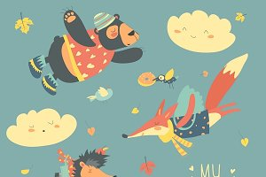 Animals and leaves flying in the sky