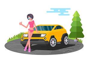 Hot girl asking for lift