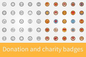 Donation and charity badges set