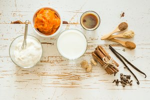 Ingredients for pumpkin spice latte