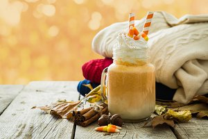Pumpkin spice latte in glass jar