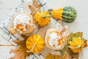 Halloween style pumpkin spice latte in glass jar