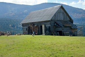 Autumn mountain farmstead