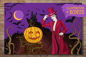 Vampire & Halloween Pumpkin Cartoon