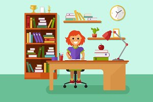 Girl Learning Vector Illustration