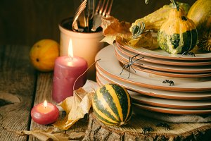 Halloween table setting with decoration