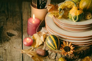 Thanksgiving table setting with decorations