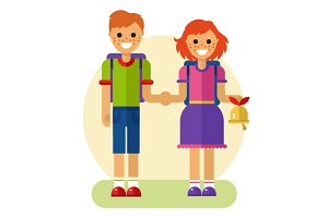 Girl & Boy go to School