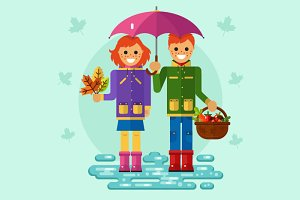 Girl & Boy Under Umbrella