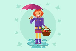 Girl Under Umbrella Vector