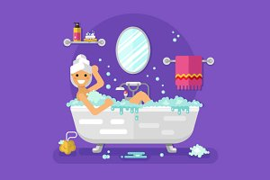 Girl in Bubble Bath Vector