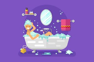 Relaxing Bubble Bath Vector
