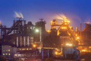 Steel factory at night