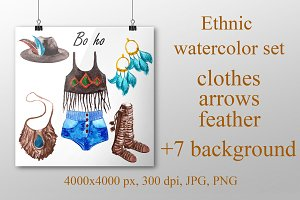 Ethnic watercolor set.Bo-Ho.