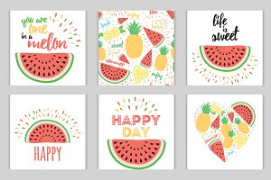Set of bright fresh fruit images