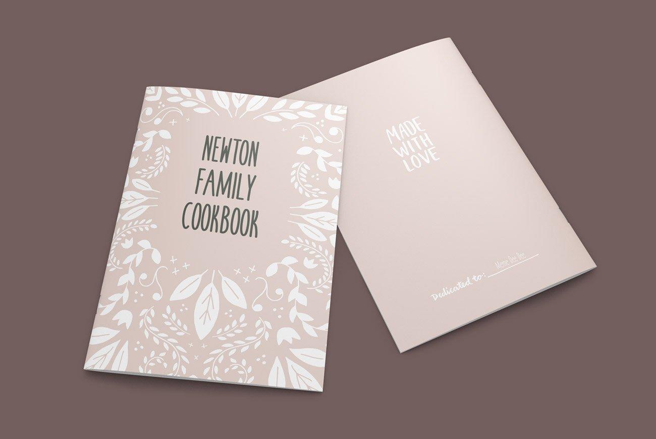 vintage cookbook indesign template brochure templates creative market. Black Bedroom Furniture Sets. Home Design Ideas