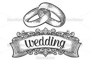 Wedding rings with lettering.
