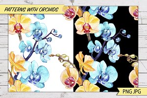 With orchids patterns.