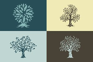 Vector oak trees isolated set