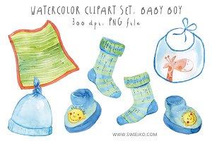 Watercolor Baby Set, Baby Boy