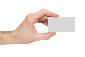 Gray card blank in a hand