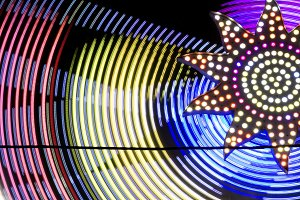 Colored lights on a fairground