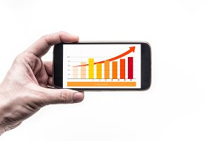 Hand smartphone Financial growth