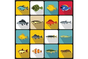 Cute fish icons set, flat style