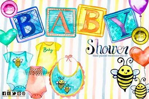 Babyshower watercolor graphic