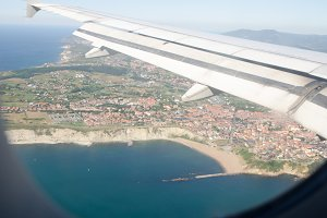 Coastal landscape from an airplane.