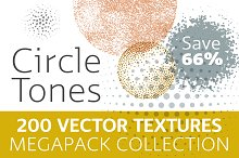200 Vector Halftone Circles Megapack