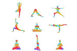 Yoga poses abstract silhouette