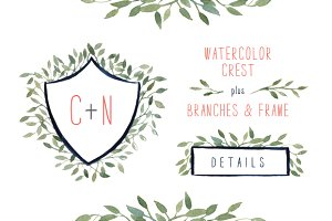 Watercolor Crest + Branches & Frame