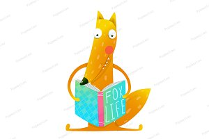 Cute funny cartoon fox reading book