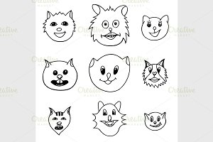 Adorable Cartoon Cats Faces