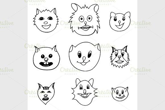 Adorable Cartoon Cats Faces Graphics Creative Market