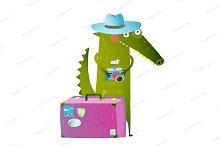 Crocodile tourist suitcase camera