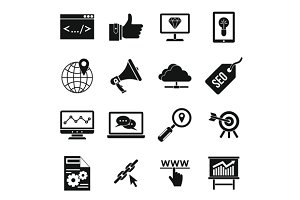 SEO icons set, simple style