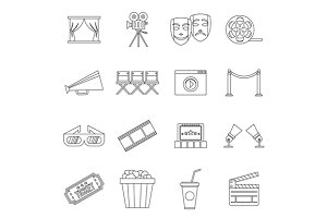 Cinema icons set, outline style