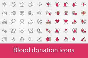 Blood donation icons set