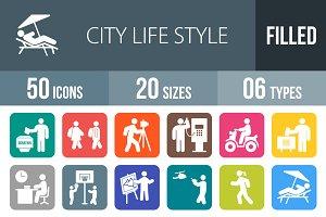 50 City Life Flat Round Corner Icons