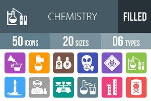 50 Chemistry Flat Round Corner Icons