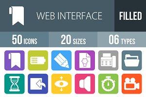 50 Web Flat Round Corner Icons