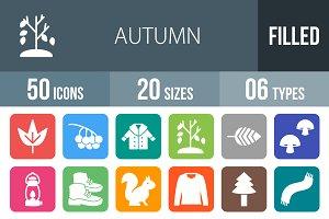 50 Autumn Flat Round Corner Icons