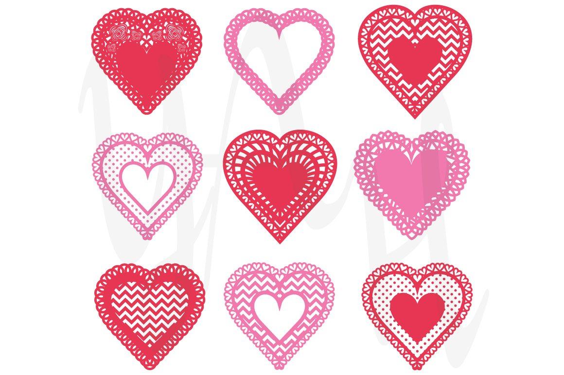 Heart Shaped Doilies Clip Art ~ Illustrations ~ Creative ...