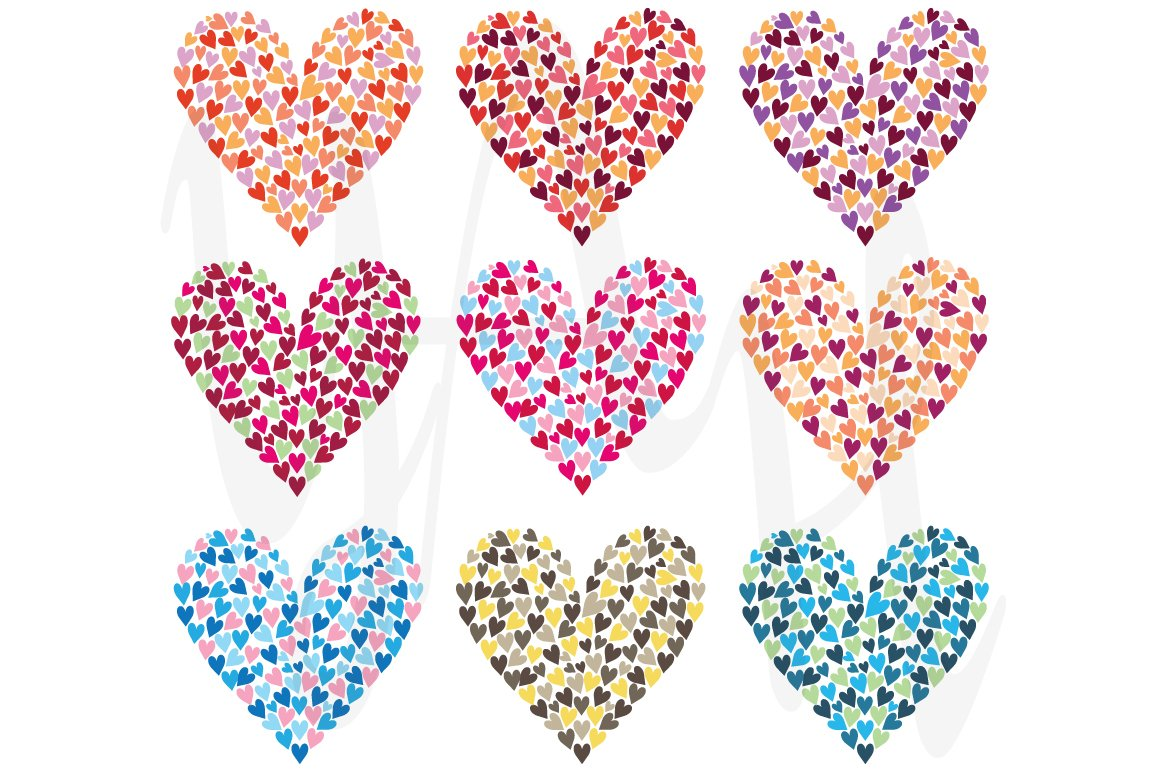 Rainbow Colorful Heart Shape Set ~ Illustrations ~ Creative Market