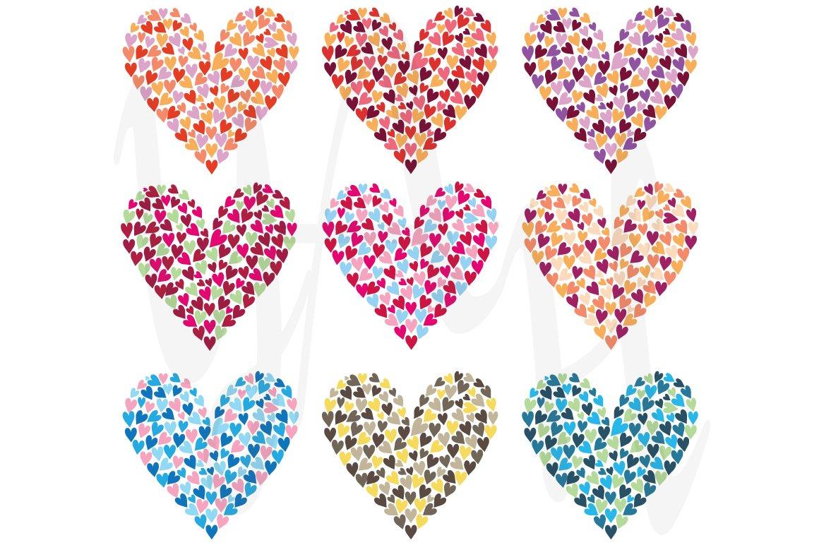 Rainbow Colorful Heart Shape Set Illustrations