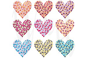 Rainbow Colorful Heart Shape Set