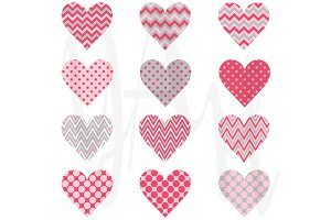 Pink Chevron Polka Dot Heart Shape