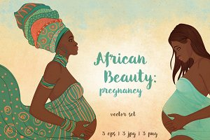 African Beauty: Pregnancy. 3 vectors